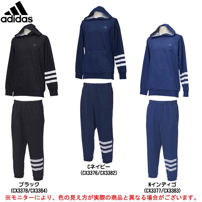adidas(アディダス)M SPORT ID デニムスウェット プルオーバーパーカー パンツ 上下セット(ETZ54/ETZ52)(スポーツ/トレーニング/3/4パンツ/7分丈/カジュアル/男性用/メンズ)