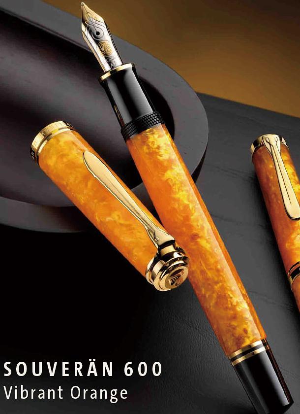【送料無料】【あす楽可】 ペリカン 万年筆 特別生産品 スーベレーン M600 ヴァイブラントオレンジ ロジウム装飾14金ペン先 ピストンメカニズム 数量限定 EF F M B ※名入れ不可