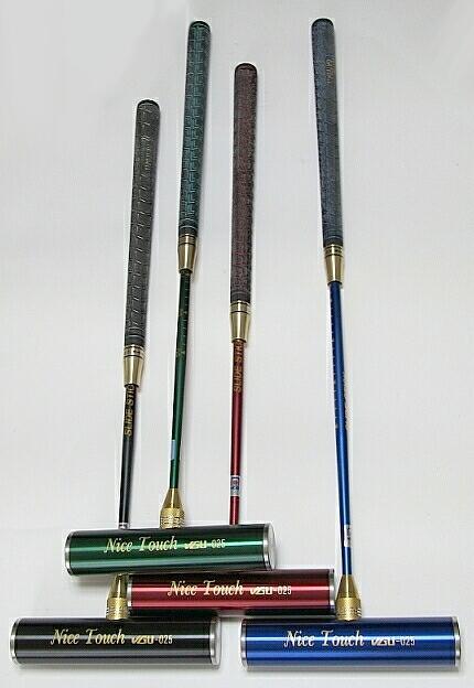 ゲートボールスティック 伸縮タイプ 45×200ステンレスヘッド・糸入り丸ゴムグリップ回転式スライド型シャフト