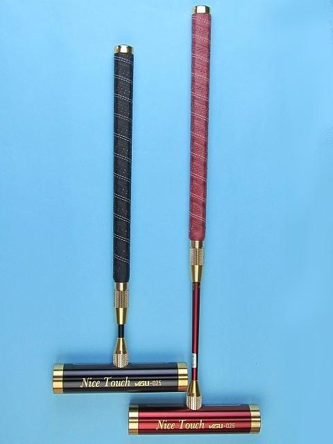 ゲートボールスティック 伸縮タイプ 45×200アルミヘッド・牛革巻き両扁平グリップ中間ロック式スライド型シャフト