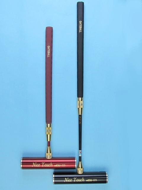ゲートボールスティック 伸縮タイプ 45×200ステンレスヘッド・両扁平ゴムグリップ中間ロック式スライド型シャフト ゲートボール用品
