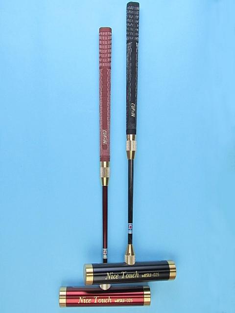 ゲートボールスティック 伸縮タイプ 45×200アルミヘッド・糸入り片扁平ゴムグリップ中間ロック式スライド型シャフト ゲートボール用品