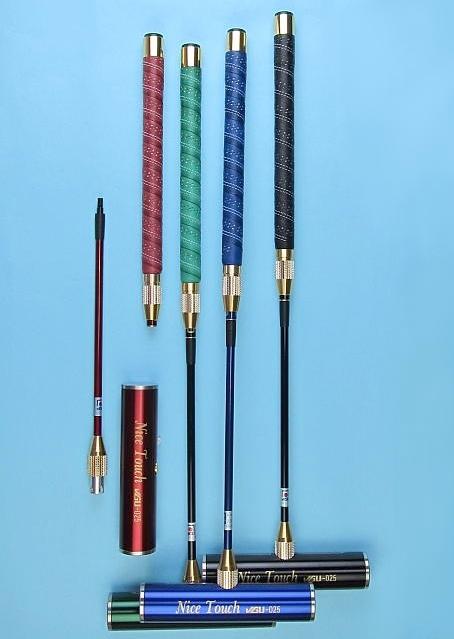 ゲートボールスティック 伸縮コンパクトタイプ 45×200ステンレスヘッド・牛革巻き丸グリップ中間ロック式スライド型コンパクトシャフト