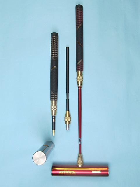 ゲートボールスティック 伸縮コンパクトタイプ 40×200ステンレスヘッド・丸ゴムグリップ中間ロック式スライド型コンパクトシャフト ゲートボール用品