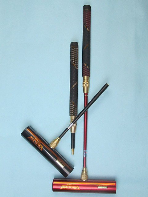 ゲートボールスティック 伸縮コンパクトタイプ 45×200低重心ステンレスヘッド・丸ゴムグリップ中間ロック式スライド型コンパクトシャフト