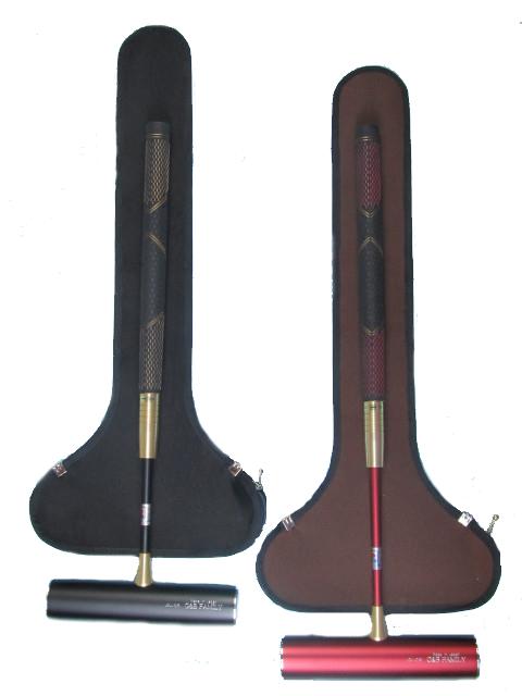 ゲートボールスティックセット 伸縮タイプケース付き 45×200ジュラルミン固定ヘッド・丸ゴムグリップ回転式スライド型シャフト RO-9A5