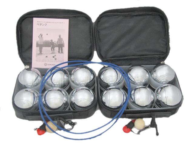 ペタンク レジャー球セット 普及用12個(シルバー6個×2) サンラッキー ペタンク用品