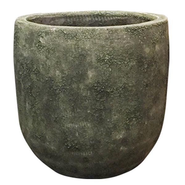 鉢 鉢カバー / ボルカーノ ソルトラウンド グリーン 43x41cm GO-VO4341GN 【取り寄せ商品】 グリーンポット おしゃれ 丸型 自然