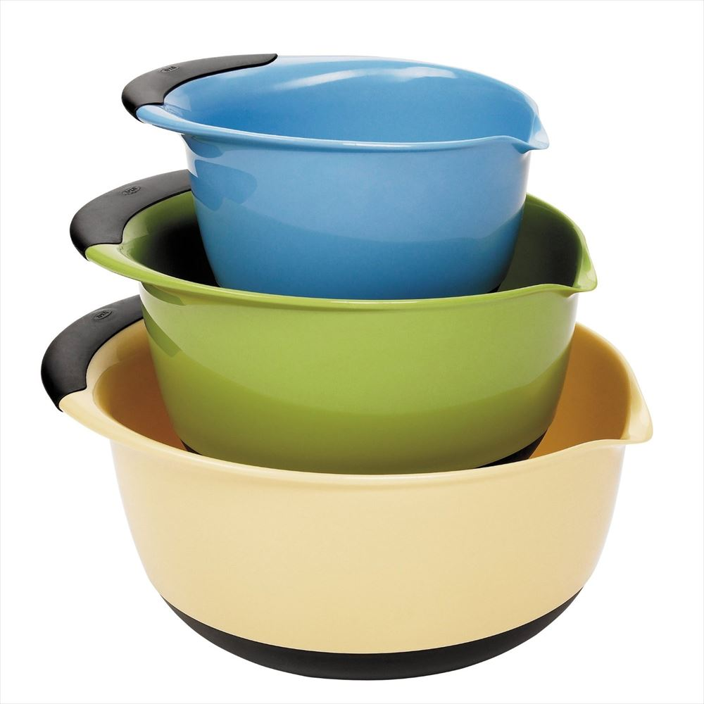 OXO オクソー ミキシングボールセット ブルー グリーン イエロー Good Grips Mixing Bowl Set with Handles, 3-Piece Blue Green Brown 送料無料