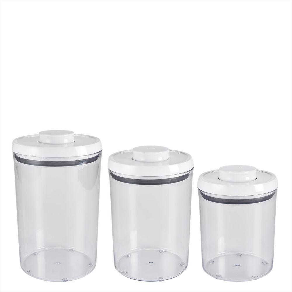 OXO オクソー ポップラウンドコンテナ 3ピースセット ホワイト 3-Piece Pop Round Canister Set, White 送料無料 【並行輸入品】