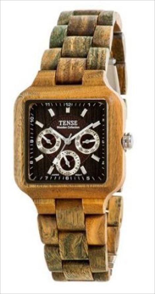 Tense テンス Green Solid Wood Square Multi-Eye Watch B7305G DF 男性用 メンズ 腕時計 送料無料 【並行輸入品】