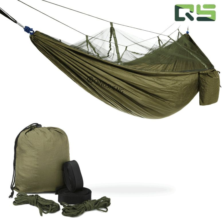 Camping Hammock ? Portable Mosquito Hammocks Lightweight & Compact - for Outdoor, Hiking, Camping, Backpacking, Travel, Backyard, Beach Or Any Adventure(Dark green)