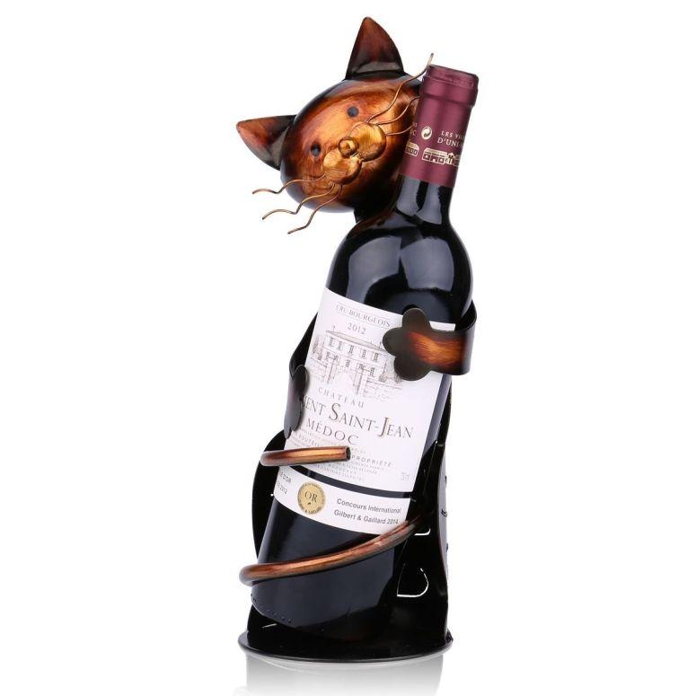 卓上ワインホルダー 金属彫刻 デザイン お酒好きの猫 送料無料 【並行輸入品】