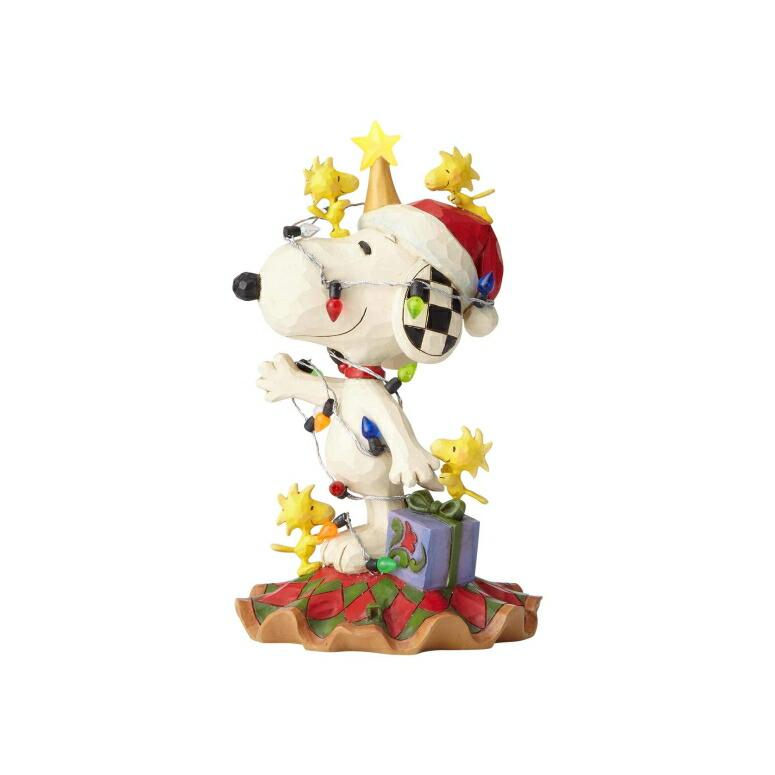 スヌーピー サンタ エネスコ ジム ショア ハートウッド クリーク フィギュア 置物 Enesco Peanuts by Jim Shore Woodstock and Snoopy with Christmas Lights Lit Figurine 6