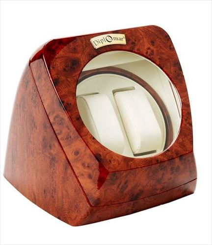 Diplomat ディプロマット ウォッチワインダー Burl Wood Double Watch Winder with Leather Interior and Multi-Setting Smart IC Timer 送料無料 【並行輸入品】
