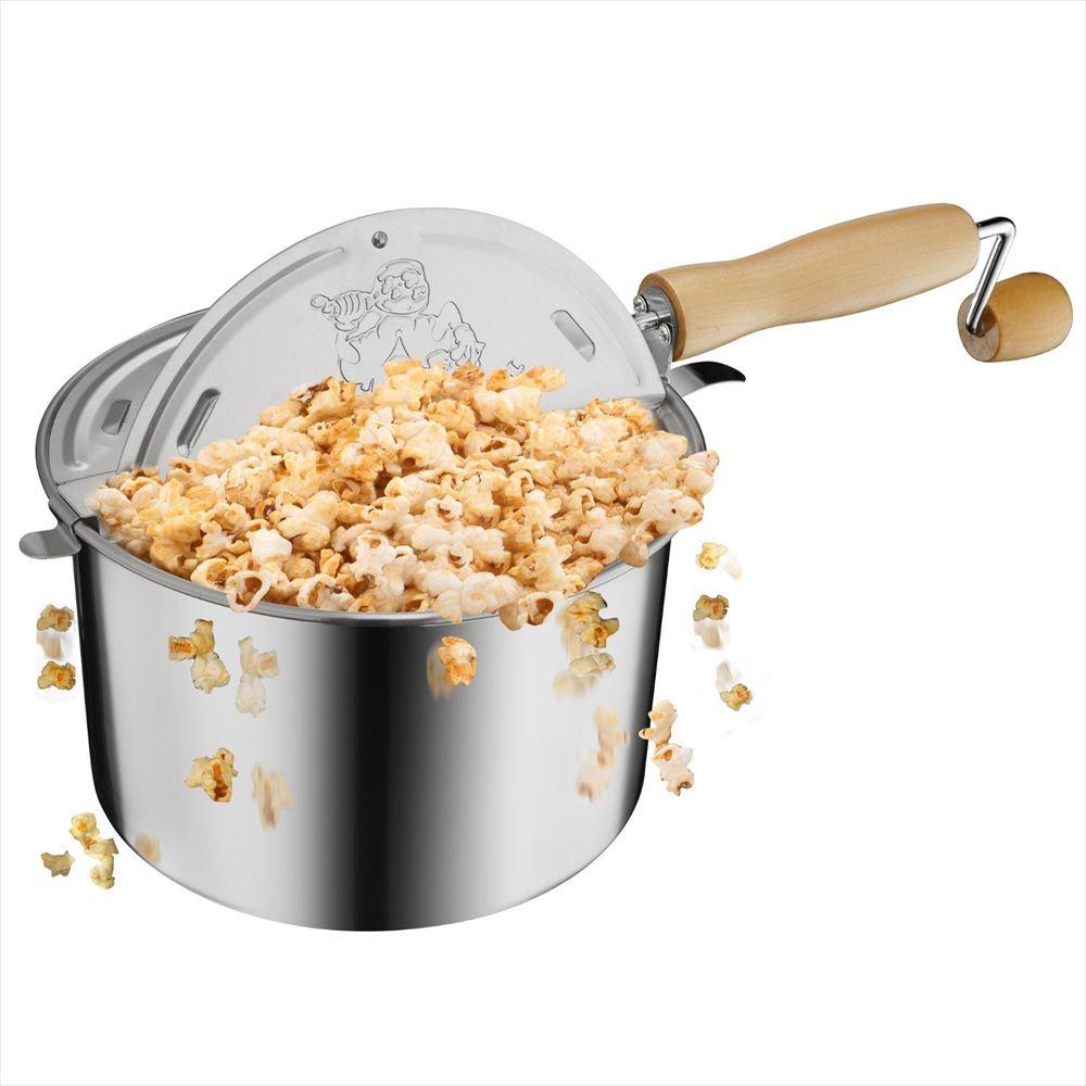Great Northern グレートノーマン Popcorn Original Stainless Steel Stove Top 6-1 2-Quart Popcorn Popper 【 ポップコーン メーカー マシーン 家庭用 フライパン 】 送料無料 【並行輸入品】