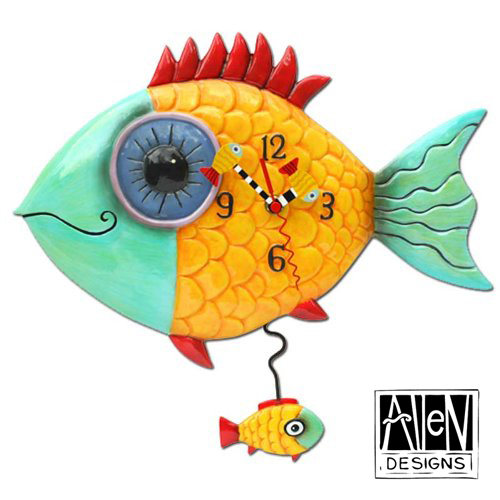 デカ目のサカナ アレン デザイン 振り子時計 Allen Designs Wide Eyed Fishy Pendulum Wall Clock Fish 掛け時計 P8056 ミシェルアレン ミシェル・アレン アレン・デザイン ALLEN DESIGNS 時計 送料無料 【並行輸入品】