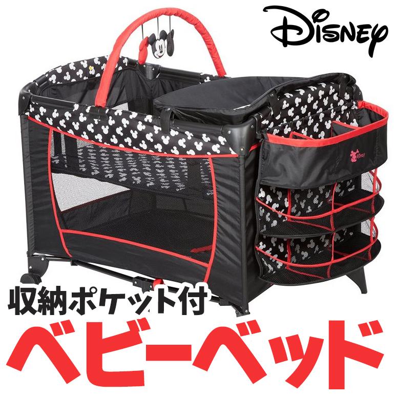 Disney ディズニー ベビーベッド 新生児 ベッド 寝具 プレイヤード ミッキー シルエット mickey minnie 折り畳み ベビーサークル 旅行 帰省 収納 ドライブ ピクニック 送料無料 【並行輸入品】