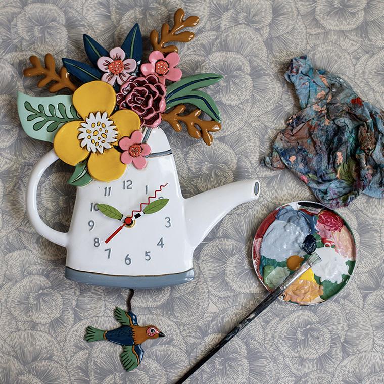 ブルームズ 花 じょうろ アレン デザイン 振り子時計 Allen Designs Blossoms (watering can) Pendulum Clock 掛け時計 P1992 ミシェルアレン ミシェル・アレン アレン・デザイン ALLEN DESIGNS 時計 送料無料 【並行輸入品】