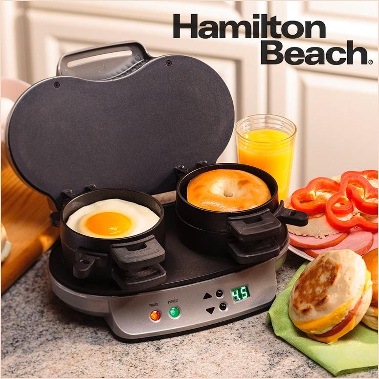 ハミルトン ビーチ Hamilton Beach 25490A デュアル ブレイクファスト サンドイッチ メーカー Dual Breakfast Sandwich Maker 【 最大2コ 5分以下 簡単調理 サンドイッチ イングリッシュマフィン ホットケーキ お好みの具材で 】 送料無料 【並行輸入品】