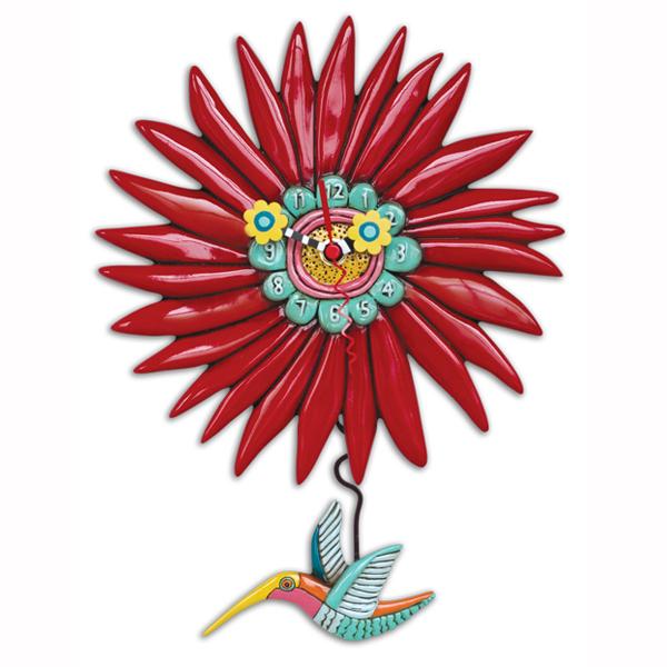 さえずるハチドリ アレン デザイン 振り子時計 Allen Designs Humming Around Hummingbird Clock 花 鳥 赤 掛け時計 P1408 ミシェルアレン ミシェル・アレン アレン・デザイン ALLEN DESIGNS 時計 送料無料 【並行輸入品】
