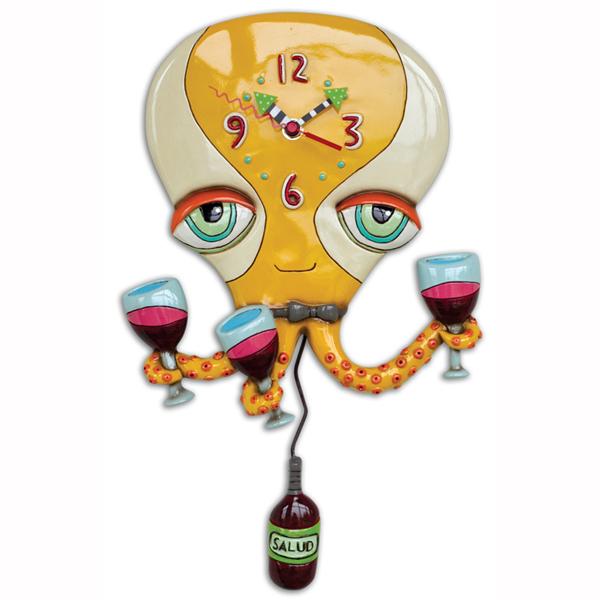 ハッピー タコ ワイン アレン デザイン 振り子時計 Allen Designs Happy Hour Octopus Clock グラス 掛け時計 P1410 ミシェルアレン ミシェル・アレン アレン・デザイン ALLEN DESIGNS 時計 送料無料 【並行輸入品】