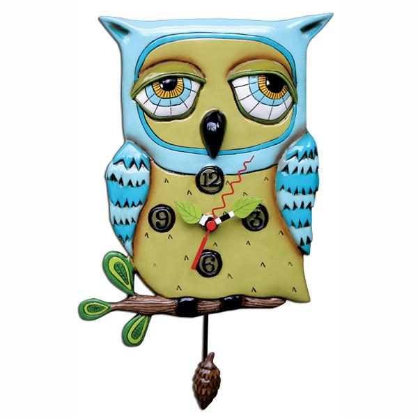 オールド ブルー フクロウ アレン デザイン 振り子時計 Allen Designs Old Blue Owl Clock 動物 掛け時計 P1062 ミシェルアレン ミシェル・アレン アレン・デザイン ALLEN DESIGNS 時計 送料無料 【並行輸入品】