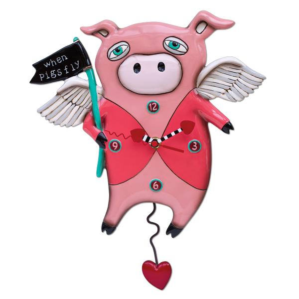 アレン デザイン 振り子時計 Allen Designs When Pigs Fly Clock 「豚が飛んでいる」 ファーム ハート ピンク 翼 ウィング 掛け時計 P1560 ミシェルアレン ミシェル・アレン アレン・デザイン ALLEN DESIGNS 時計 送料無料 【並行輸入品】