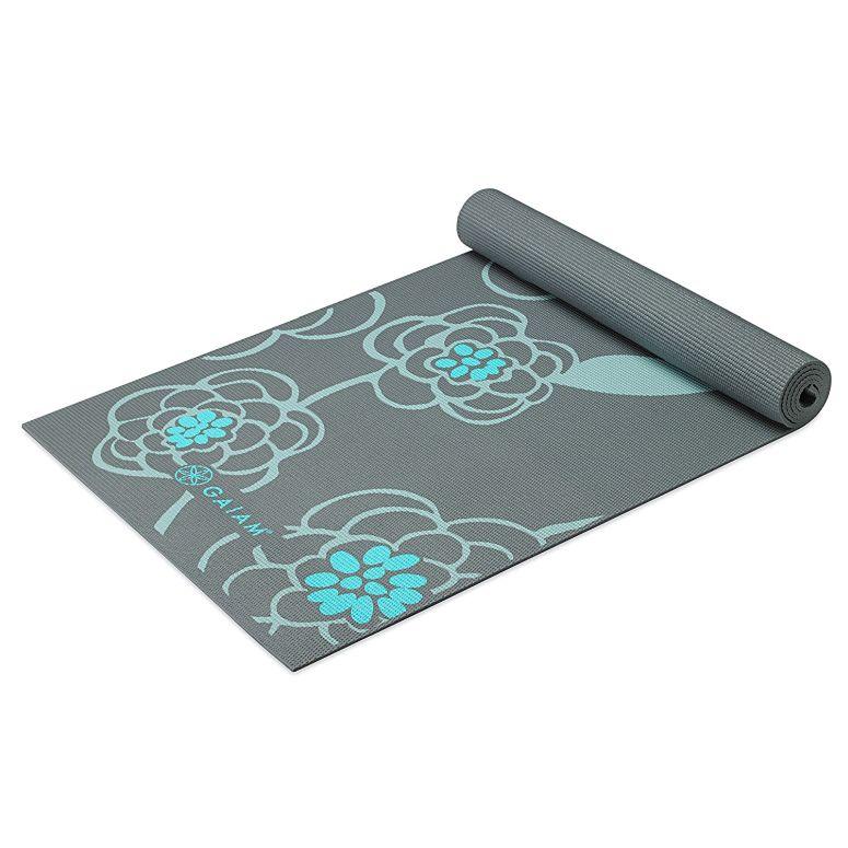 Gaiam ガイアム プリント ヨガ マット 5mm Icy Blossom レディース 海外ブランド ピラティス フィットネス 送料無料 【並行輸入品】