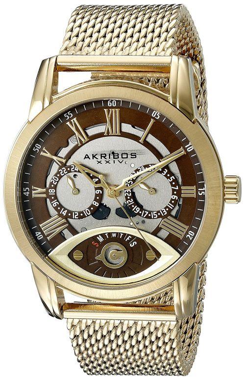 アクリボス Akribos XXIV 男性用 腕時計 メンズ ウォッチ シルバー ブラウン AK846YG 送料無料 【並行輸入品】