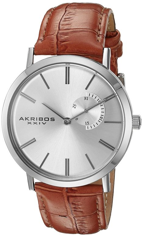 アクリボス Akribos XXIV 男性用 腕時計 メンズ ウォッチ シルバー AK848SSBR 送料無料 【並行輸入品】