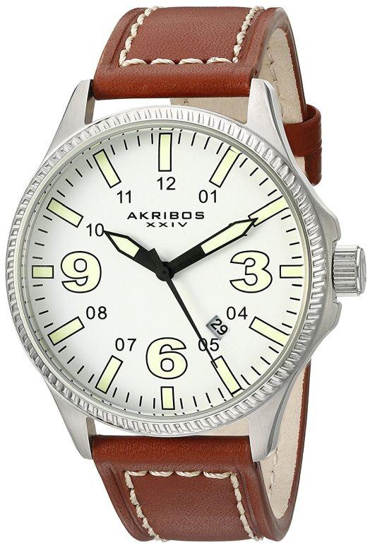 アクリボス Akribos XXIV 男性用 腕時計 メンズ ウォッチ ホワイト AK833SSBR 送料無料 【並行輸入品】