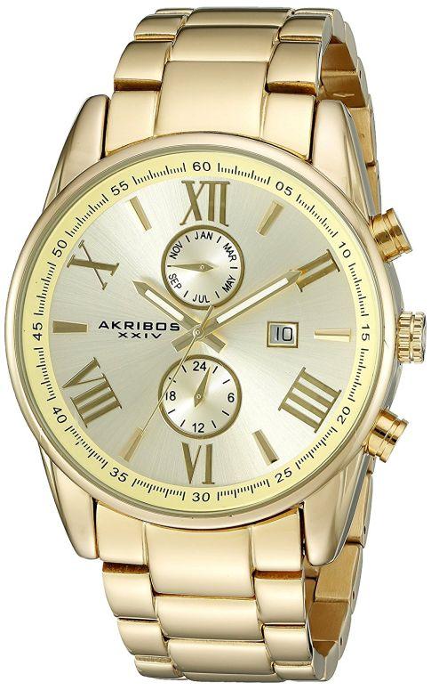 アクリボス Akribos XXIV 男性用 腕時計 メンズ ウォッチ ゴールド AK812YG 送料無料 【並行輸入品】