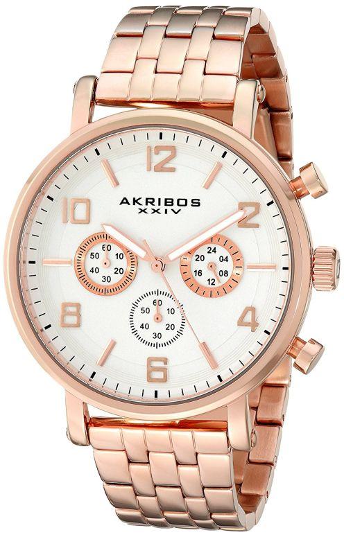 アクリボス Akribos XXIV 男性用 腕時計 メンズ ウォッチ クロノグラフ ホワイト AK800RG 送料無料 【並行輸入品】