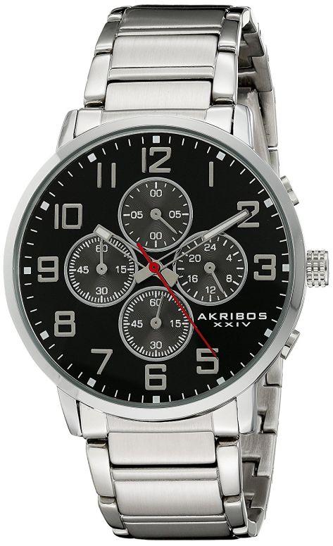 アクリボス Akribos XXIV 男性用 腕時計 メンズ ウォッチ クロノグラフ ブラック AK810SSB 送料無料 【並行輸入品】