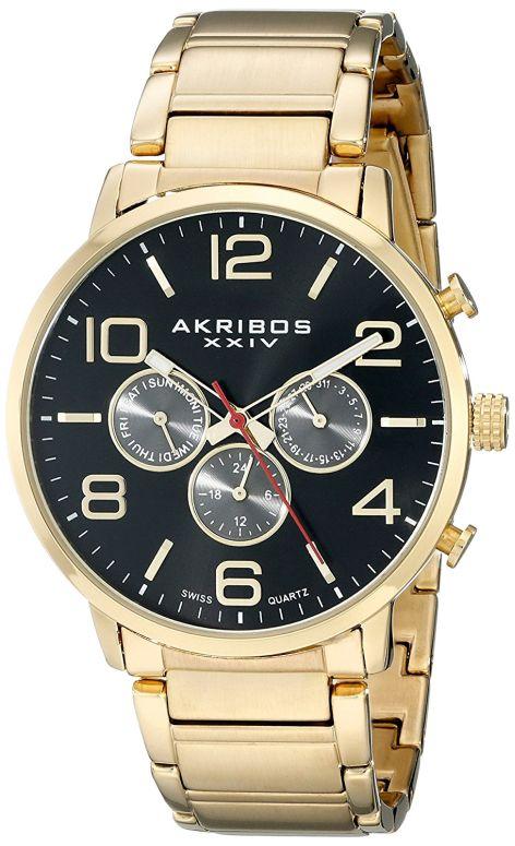 アクリボス Akribos XXIV 男性用 腕時計 メンズ ウォッチ ブラック AK803YGBK 送料無料 【並行輸入品】