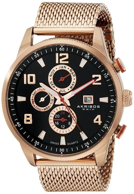 アクリボス Akribos XXIV 男性用 腕時計 メンズ ウォッチ ブラック AK784RG 送料無料 【並行輸入品】