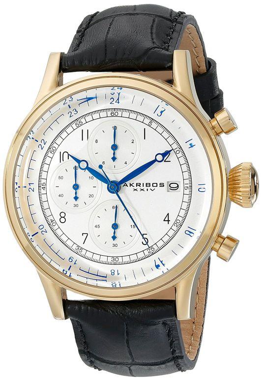 アクリボス Akribos XXIV 男性用 腕時計 メンズ ウォッチ クロノグラフ シルバー AK798YG 送料無料 【並行輸入品】