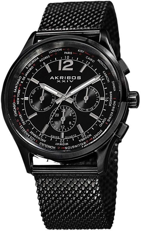 アクリボス Akribos XXIV 男性用 腕時計 メンズ ウォッチ ブラック AK716BK 送料無料 【並行輸入品】