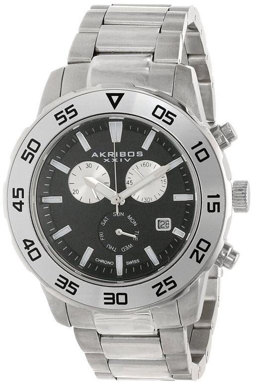 アクリボス Akribos XXIV 男性用 腕時計 メンズ ウォッチ クロノグラフ ブラック AK669SSB 送料無料 【並行輸入品】