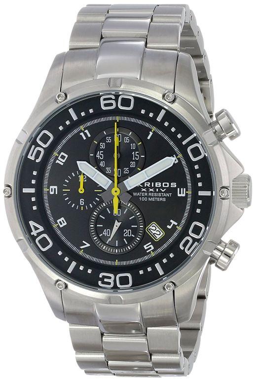 アクリボス Akribos XXIV 男性用 腕時計 メンズ ウォッチ クロノグラフ ブラック AK663SSB 送料無料 【並行輸入品】