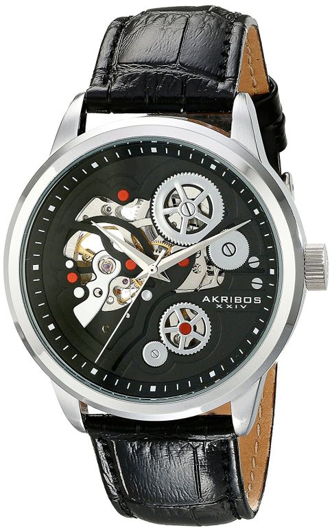 アクリボス AK538BK 男性用 ブラック XXIV 送料無料 メンズ 腕時計 ウォッチ Akribos 【並行輸入品】