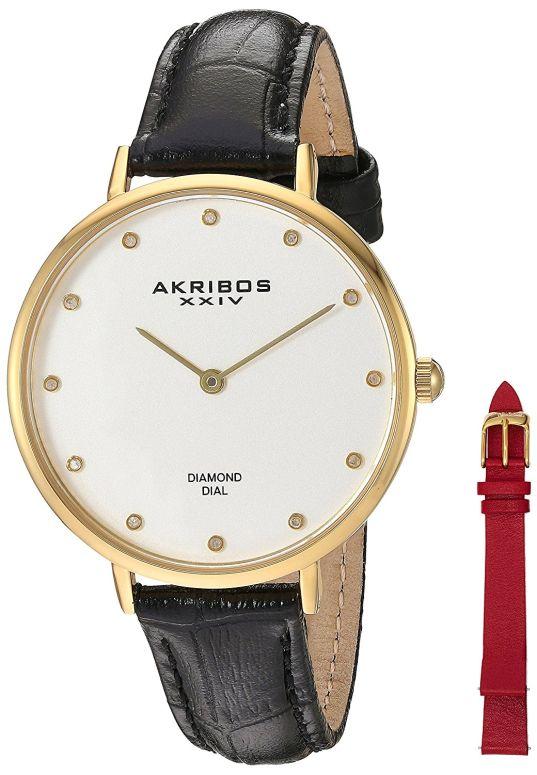 アクリボス Akribos XXIV 女性用 腕時計 レディース ウォッチ ホワイト AK933YG-BX 送料無料 【並行輸入品】