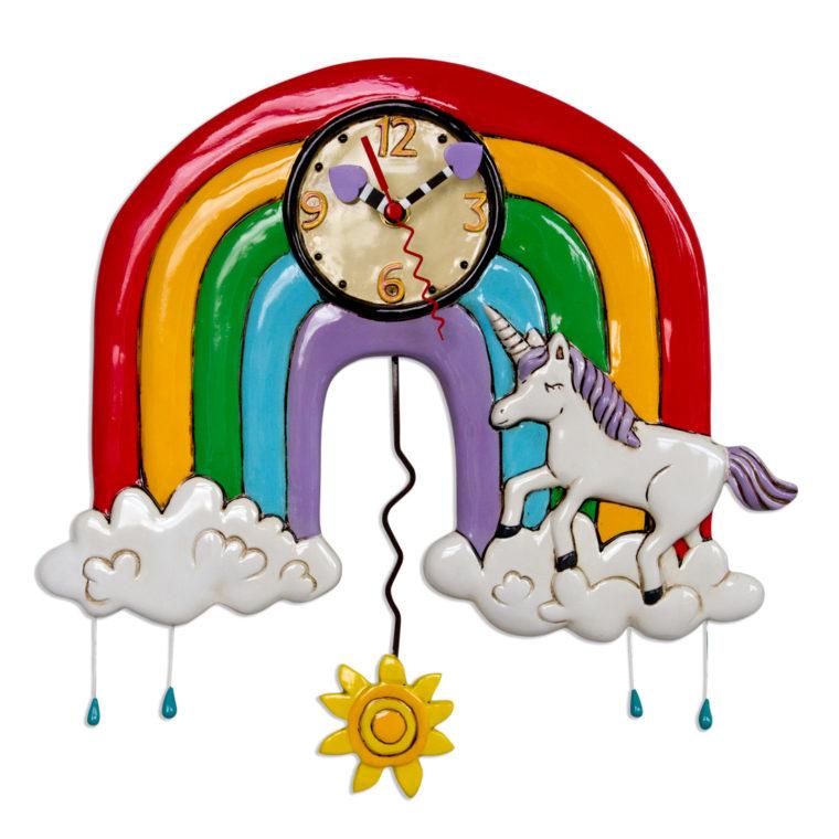 虹 ユニコーン アレン デザイン 振り子時計 Allen Designs Rainbows & Unicorns Clock 掛け時計 P1806 ミシェルアレン ミシェル・アレン アレン・デザイン ALLEN DESIGNS 時計 送料無料 【並行輸入品】