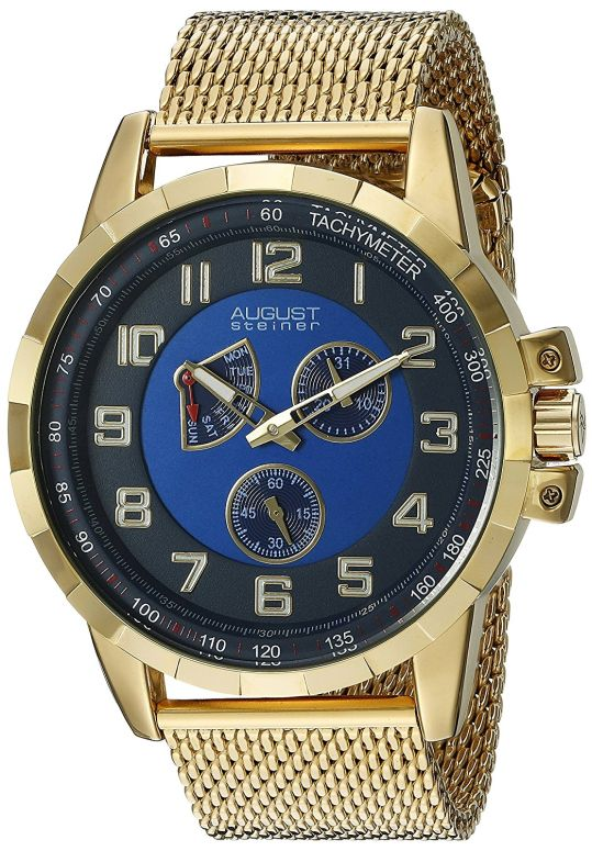 オーガストシュタイナ August Steiner 男性用 腕時計 メンズ ウォッチ ブルー AS8202YGBU 送料無料 【並行輸入品】