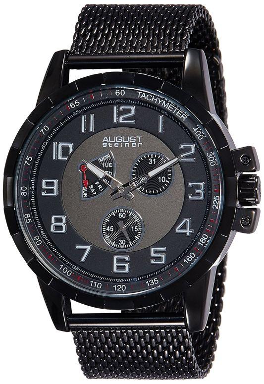 オーガストシュタイナ August Steiner 男性用 腕時計 メンズ ウォッチ ブラック グレー AS8202BK 送料無料 【並行輸入品】