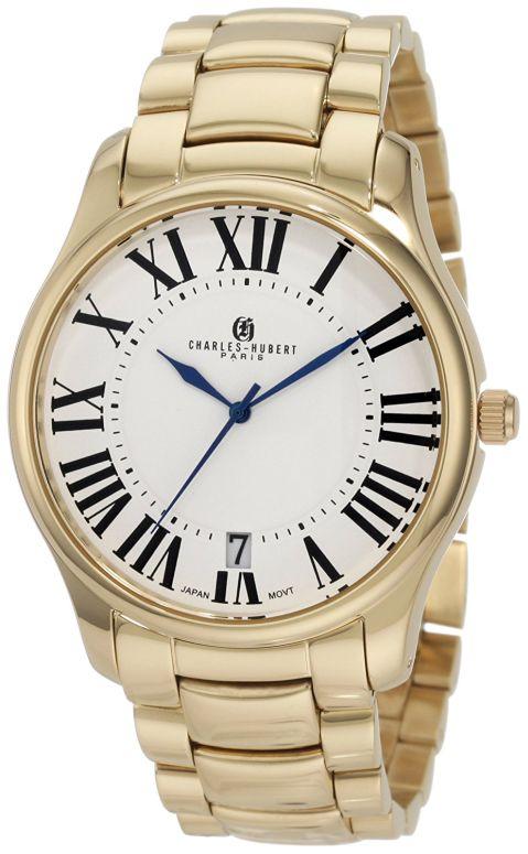 チャールズヒューバート Charles-Hubert, Paris 男性用 腕時計 メンズ ウォッチ ホワイト 3897-G 送料無料 【並行輸入品】
