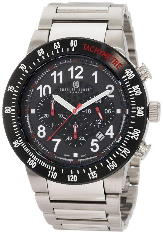 チャールズヒューバート Charles-Hubert, Paris 男性用 腕時計 メンズ ウォッチ クロノグラフ ブラック 3896-W 送料無料 【並行輸入品】