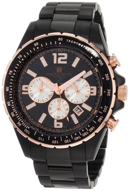 チャールズヒューバート Charles-Hubert, Paris 男性用 腕時計 メンズ ウォッチ クロノグラフ ブラック 3891-B 送料無料 【並行輸入品】