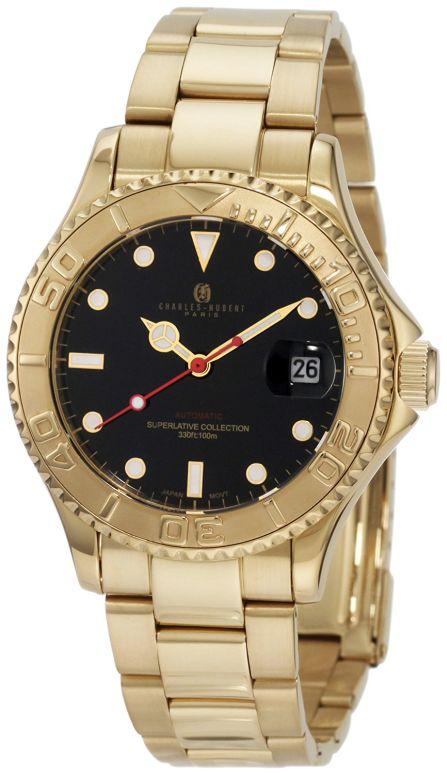 チャールズヒューバート Charles-Hubert, Paris 男性用 腕時計 メンズ ウォッチ ブラック 3514-GB 送料無料 【並行輸入品】